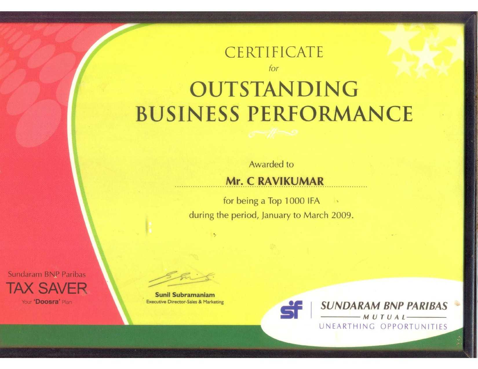 SF Outstanding Performer Award