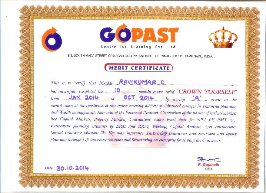 GOPAST CERTIFICATION 2014